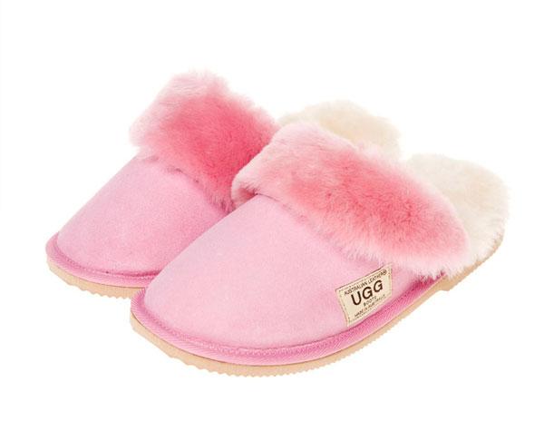 24365a075e9 Ugg Boots Fur Trimmed Scuffs Baby Pink - Gee Sheepskin