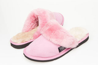 Ugg Boots Fur Trimmed Scuffs Orchard Pink